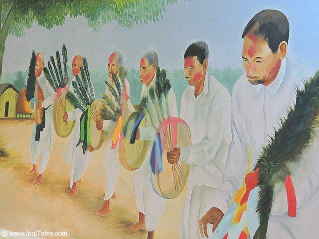 Painting depicting Tharu Tribals