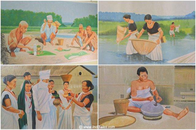Tharu Culture displayed through wall murals - Tharu Museum - Meghauli, Nepal