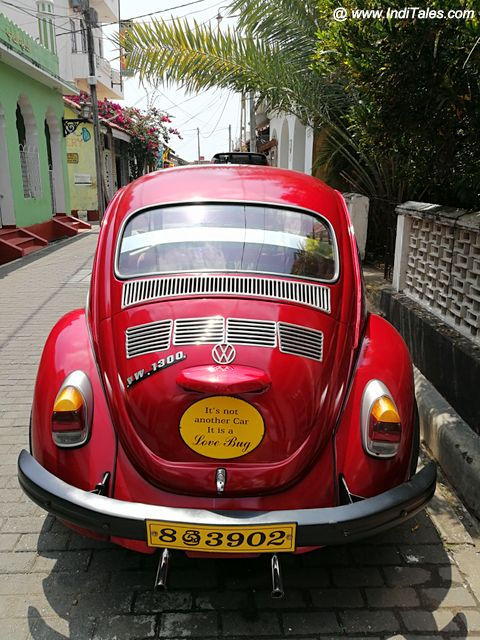 Red Vintage Car in Galle