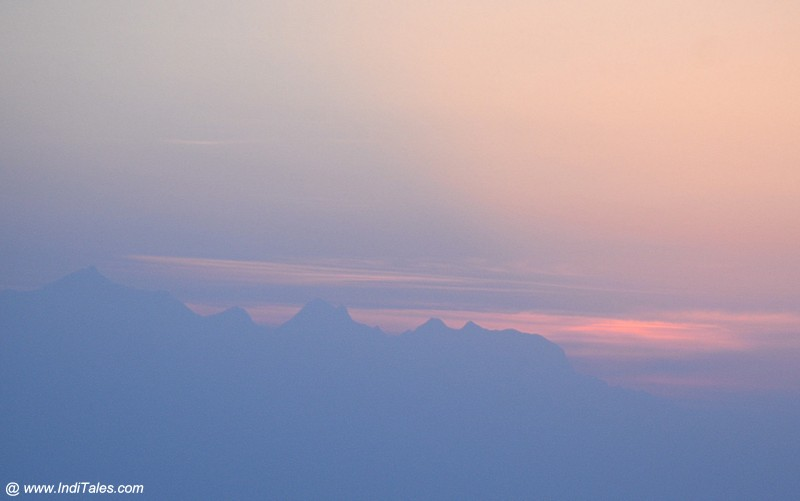 Landscape view moments before Sunrise over the Himalayas at Binsar