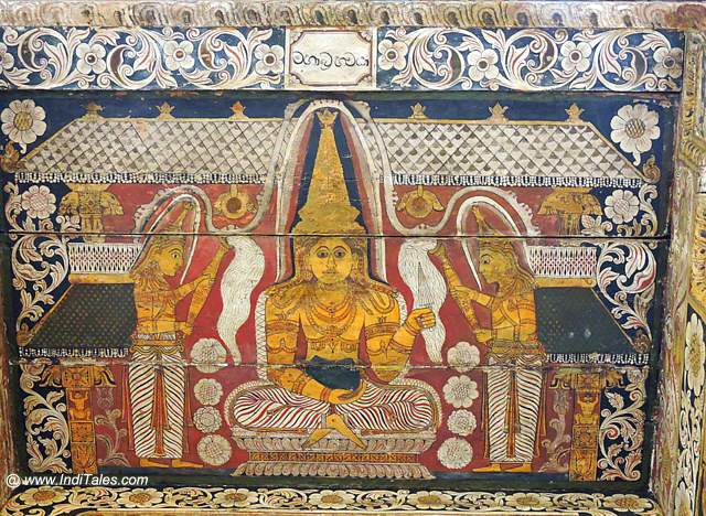 Painted wooden panels at Temple of Tooth Relic - Kandy