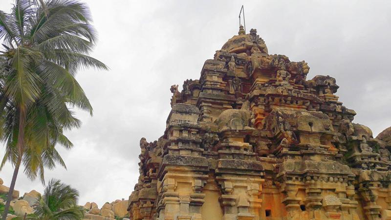 Carved Shikhara of Ramlingeshwara Temple at Avani near Kolar in Karnataka