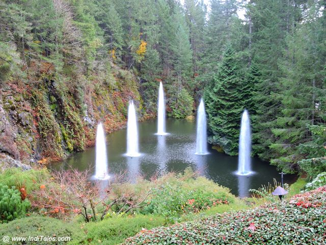 Ross Fountain at Sunken Garden of Butchart Gardens - Victoria BC - Canada