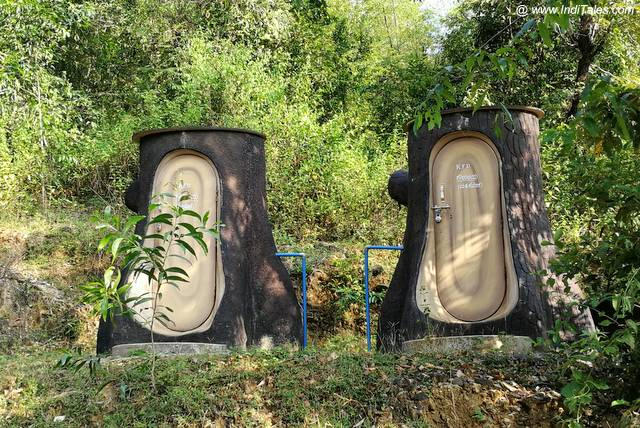 Interesting Elephant leg shaped washrooms near Vibhuti Falls