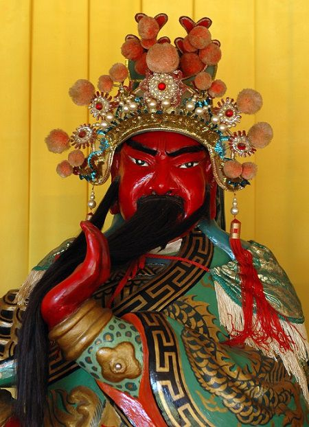 Kwan Tai-the red faced Chinese buddhist god of war revered for integrity and loyalty.