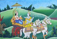 Krishna Giving Gita Gyan to Arjun during Mahabharat War at Kurukshetra