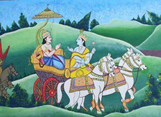 Krishna Giving Gita Gyan to Arjun during Mahabharat War at Kurukshetra
