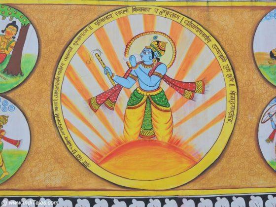 Lord Krishna on a Ganjifa Card - Street Art Kurukshetra