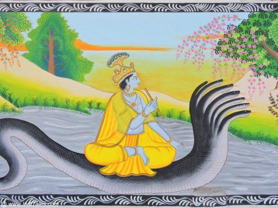 Krishna in a Pahadi Miniature Style - Street Art Kurukshetra