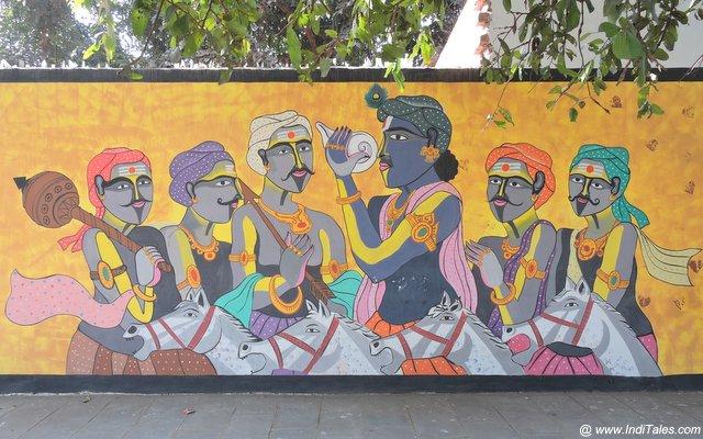 Krishna and Pandav - Street Art Kurukshetra