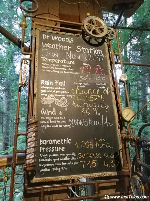 Weather Board at Treetops adventure at Capilano Suspension Bridge Park
