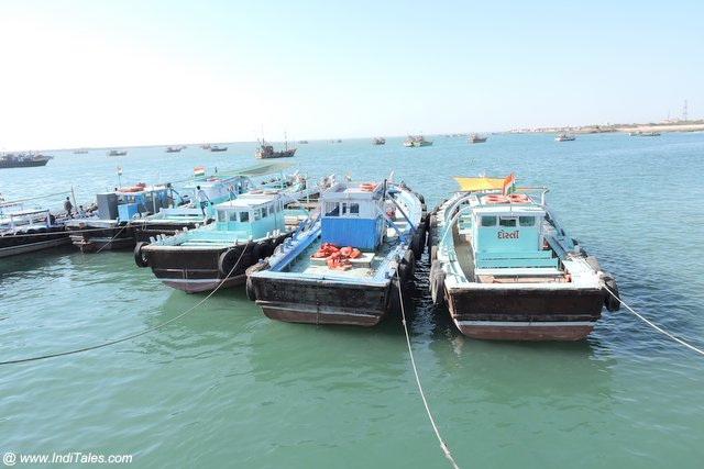 Boats lined up to ferry pilgrims between Dwarka and Bet Dwarka