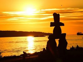 Inukshuk Monument at Sunset - Vancouver Street Art
