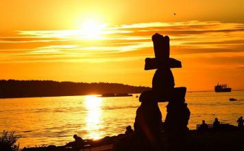 Inukshuk Monument at Sunset - Vancouver Street Art
