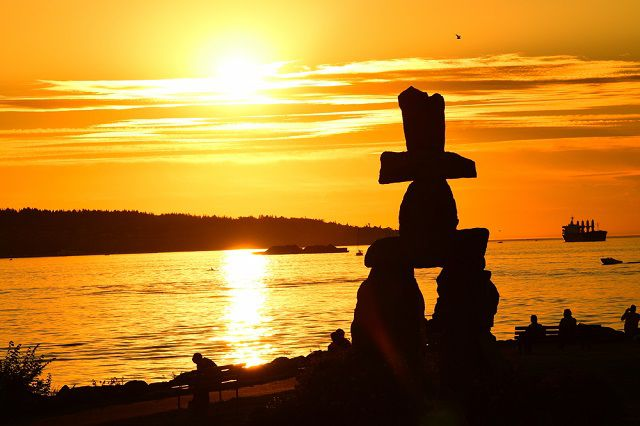 Inukshuk Monument at Sunset