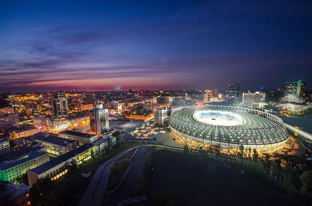 Kyiv Stadium at Night