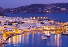 Mykonos Greece at Dusk