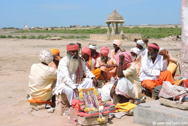 Sadhus outside the Rukmini Temple in Dwarka