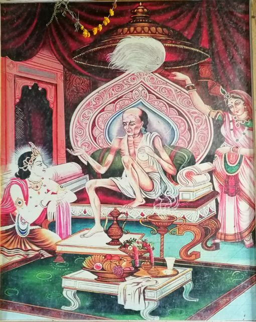 Sudama visiting Krishna and Rukmini