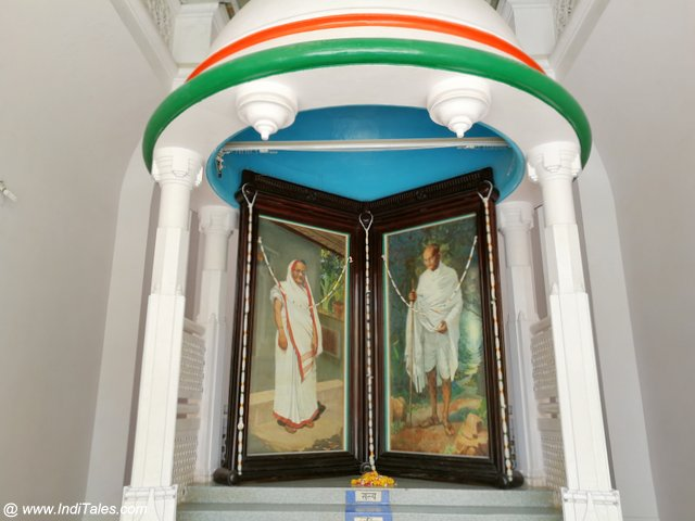 Gandhi & Kasturba Portraits at the center of Kirti Mandir