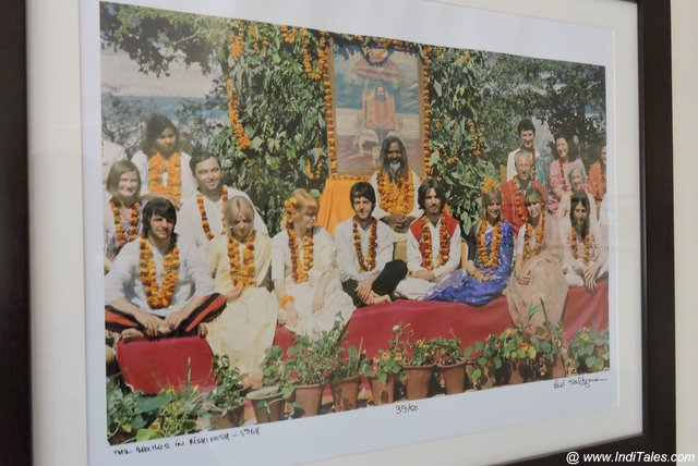 Photo of Maharishi Mahesh Yogi with Beatles at the 84 Kutiya Gallery