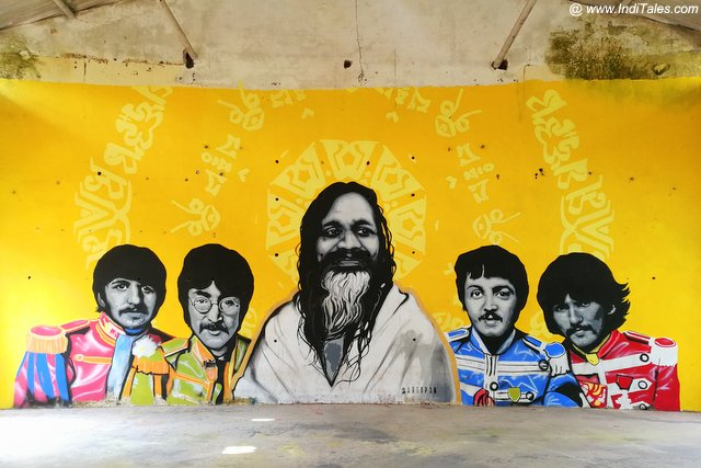 Graffiti of Maharishi with his famous disciples at 84 Kutiya - Rishikesh
