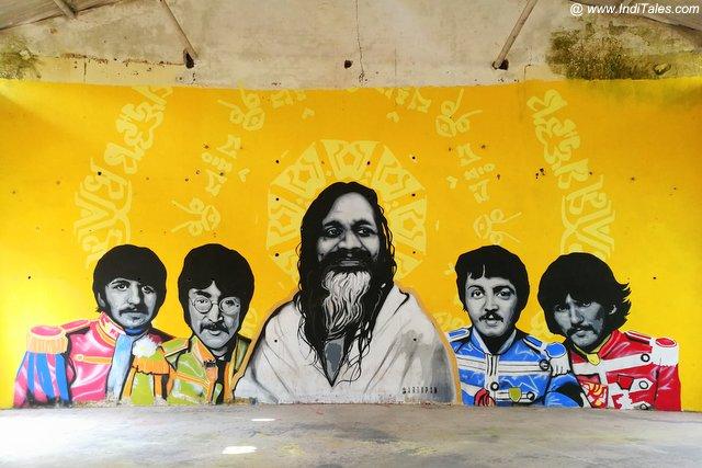 Graffiti of Maharishi with his famous disciples at 84 Kutiya - Rishikesh
