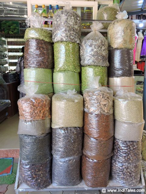 Stacks of Spices on sale at Madikeri