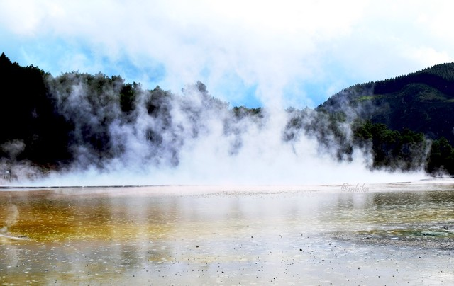 Wai-O-Tapu geothermal park in New Zealand North Island