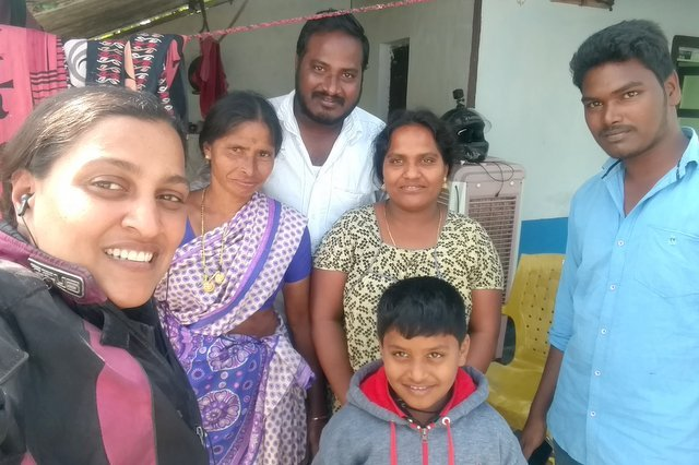 Selfie with the family Woman Biker stayed with at Amaravati