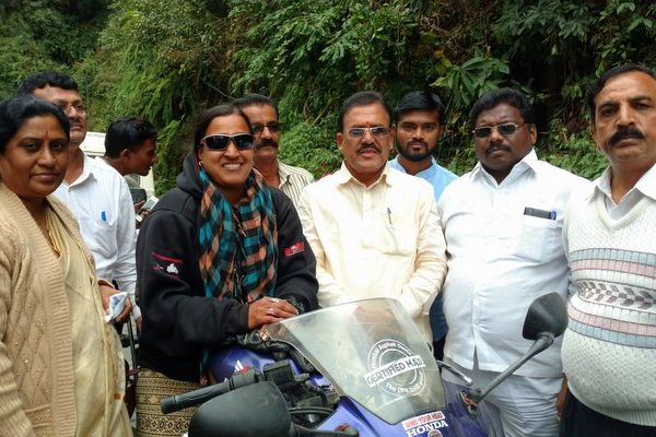 Woman Biker meeting Team Gondia at Darjeeling