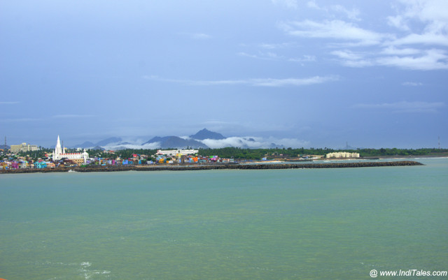 Kanyakumari town landscape view with the long Sea Pier
