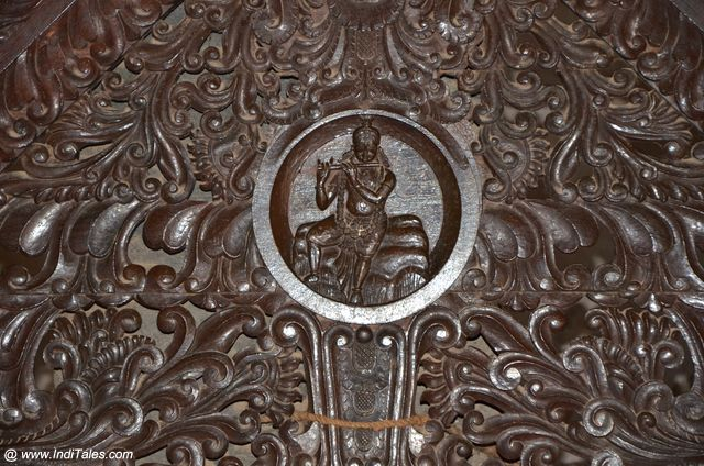 Lord Krishna in woodwork at Padmanabhapuram Palace