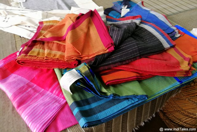 Colorful Handloom Saris, Maheshwar Indian Textile shopping