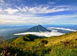 Mount Merapi surrounded by a fertile landscape