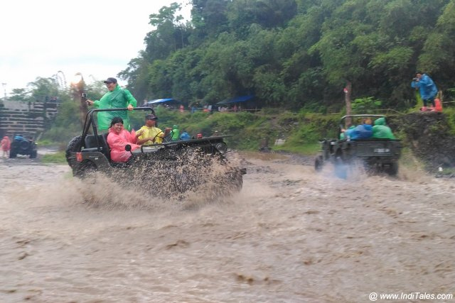 Off Roading at Kali Kuning River near Mount Merapi - Indonesia