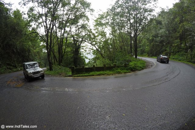 Chorla Ghat road bend during monsoons