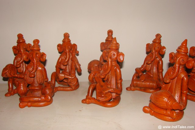 Our collection of Clay made Ganesh playing various musical instruments