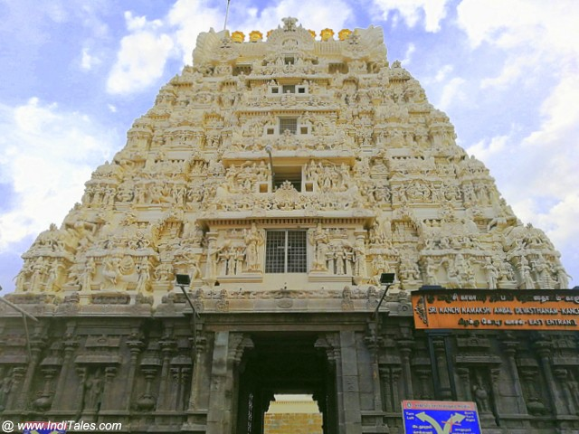 Gopuram of Kanchi Kamakshi Temple at Kanchipuram