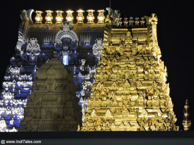 Kamakshi Temple Gopurams at night - Kanchipuram