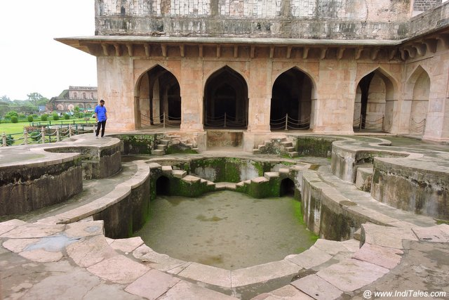 Swimming pool in the shape of a Koorma or tortoise at Jahaj Mahal - Mandu