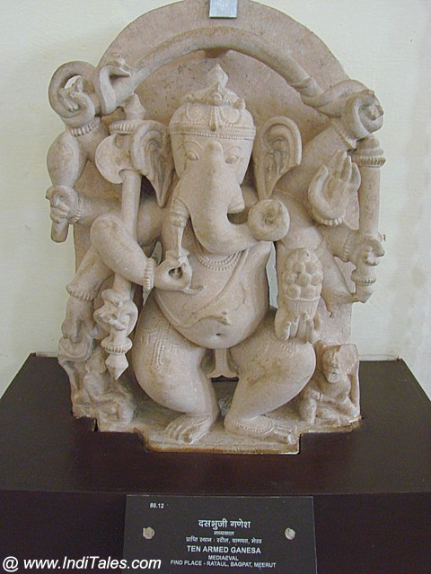 Ten Armed Ganesh sculpture in stone at Mathura Museum