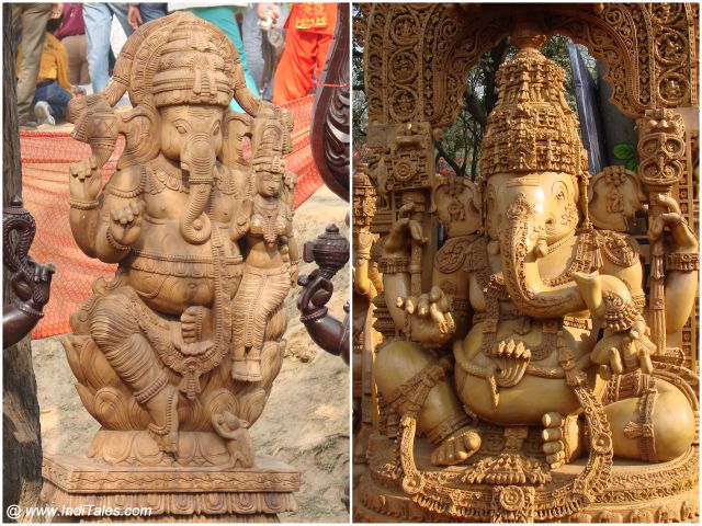 Wooden Ganesha sculptures at Surajkund Mela