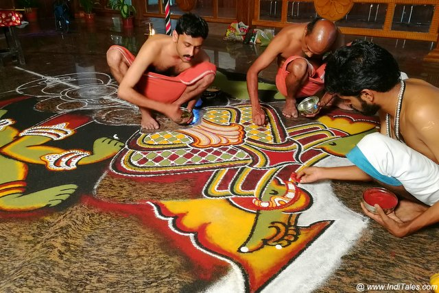Bhadrakali Kolam in making