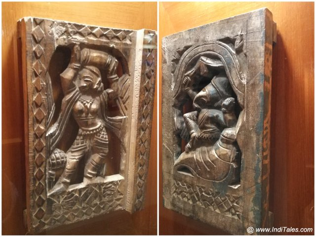 Wood carved artifacts at Clarks Awadh Lucknow