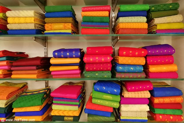 Piles of Colorful Kanchipuram Silk Sarees