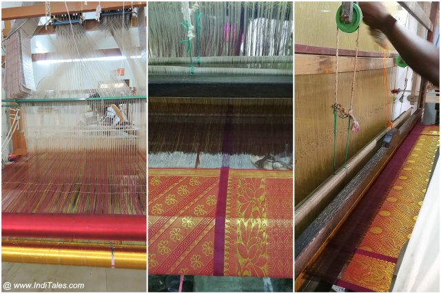 Kanchipuram Sarees in the making at a Handloom