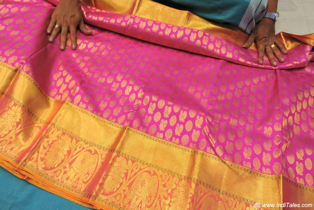 Kanchipuram Silk Saree on display