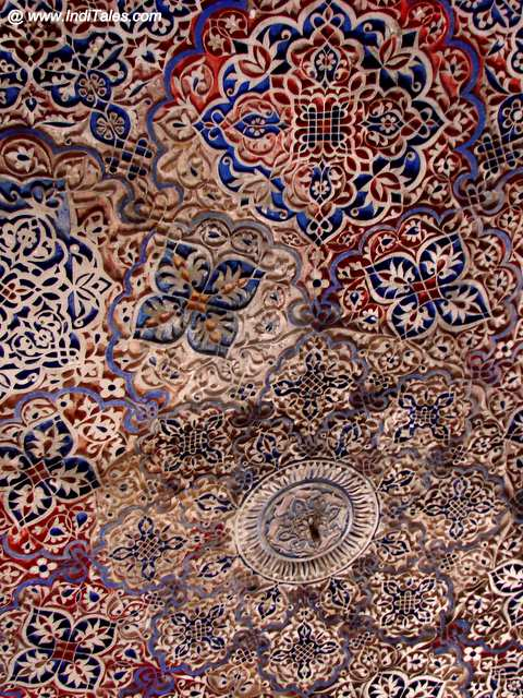 Colorful Tile Artworks on the ceiling of a heritage monument in Mehrauli