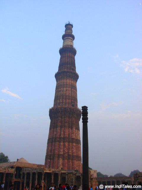 Qutub Minar and the Iron Pillar of Delhi in Mehrauli